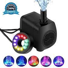 Submersible Water Pump 16W 800L Ultra Quiet 12 LED Colorful Pump Lights with 2 Nozzles,6 Feet Power Cord for Fish Tank, Pond Aquarium, Statuary Hydroponics