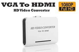 VGA to HDMI Converter Box with 3.5mm Audio 1080P Adapter Connector for PC Laptop to HDTV Projector Converter
