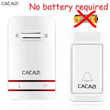 CACAZI Wireless Doorbell No Battery Need Waterproof Doorbell Cordless Remote AC 110V-220V-White