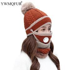 Winter Classic Hat Scarf Mask Sets For Women