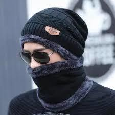 2Pcs Men Beanie Hat Scarf Set Winter Soft Warm Wool Lined Thick Knitted Lining Cap+Circle Scarf
