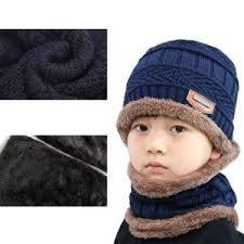 2Pcs Men Beanie Hat Scarf Set Winter Soft Warm Wool Lined Thick Knitted Lining Cap+Circle Scarf For Men&Women