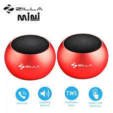 Zilla Mini Wireless Bluetooth Speaker with Multiple Speaker Wireless Pairing Function Double – Red