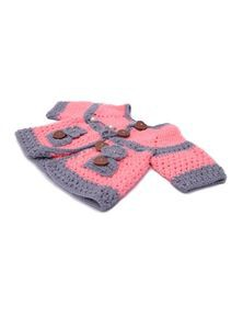 Hand-Woven Knit Wool Baby Sweater with Cap