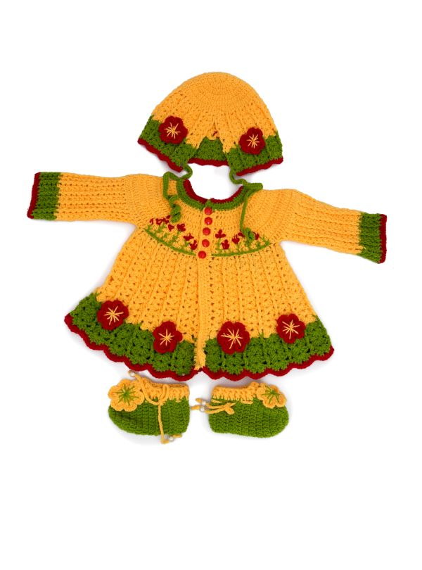 Hand-Woven Knit Wool Baby Sweater with Shoes and Cap