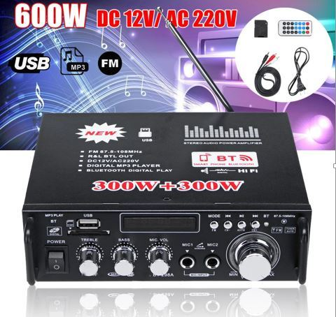 600W bluetooth HiFi Stereo Audio Power Amplifier Remote Control USB 220V -Black