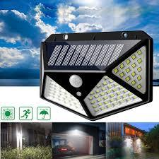 100 LED 3 Modes Solar Powered PIR Motion Sensor Wall Light Outdoor Garden Lamp