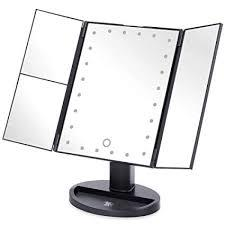 Tri-fold Makeup Mirror With Lighted Make-up Mirror 2 x 3x Magnification