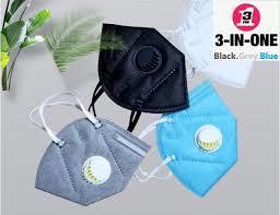 PM2.5 Mouth Mask- 5Pcs Black & Grey