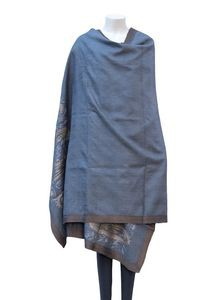 Embroidered Silk + Cotton Shawl