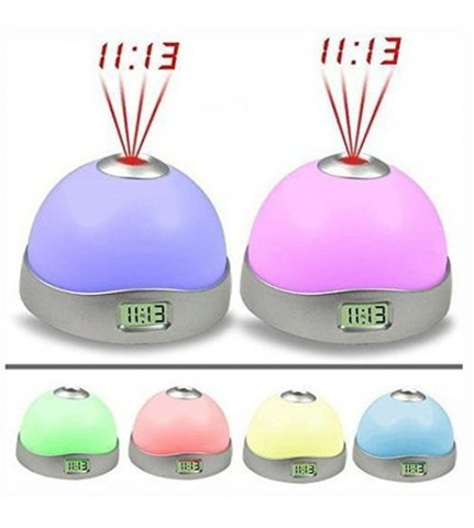 Colorful LED Projection Clock Alarm Clock Nightlight