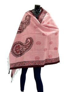 Printed and Embroidered Hand Loomed Khadi Shawl
