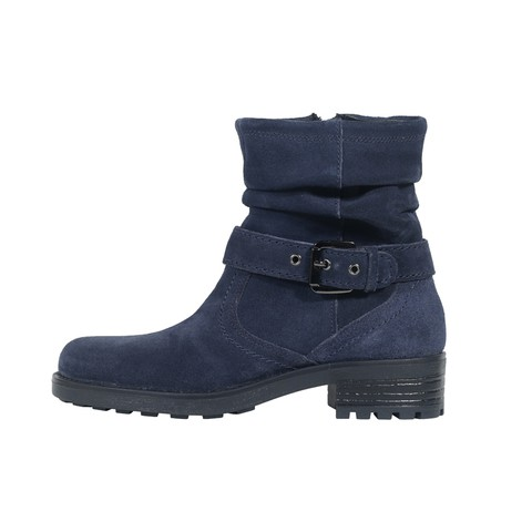 Navy Leather Boot for Women-219W1013