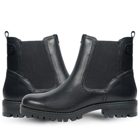 Black Leather Boot for Women-6007Blk