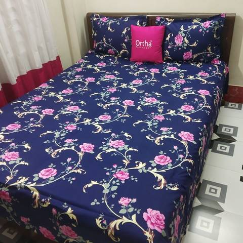 Ortha King Size Twill Bedsheet - 3 pecs - Blue Pink