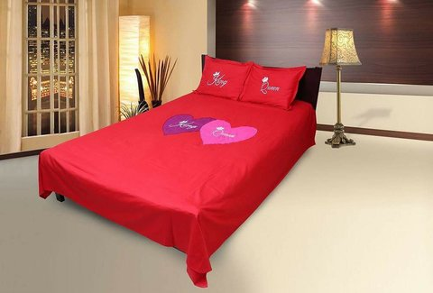 King Queen Embroidery Bedsheet - Red