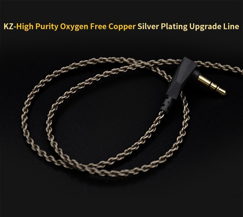 KZ high purity oxygen-free copper Cable/ Replacement Cable for KZ ZS3, ZS5, ZS6( Type A) and ZST, ZST PRO  ZS10, ES4, AS06 AS10 (B)Without mic