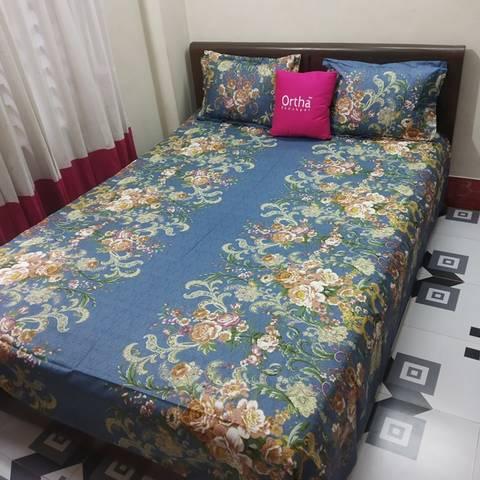 Cotton Twill Ortha Bedsheet Set - Double Size