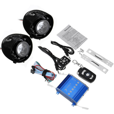Speaker Horns with LED Lights Motorcycle Alarm System AUX Audio MP3 Player with bluetooth Function