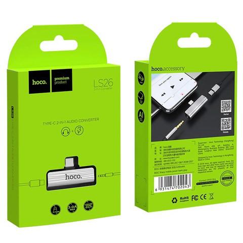 HOCO LS26 Type-C Male to Female + 3.5mm Female Audio Converter Charging Adapter