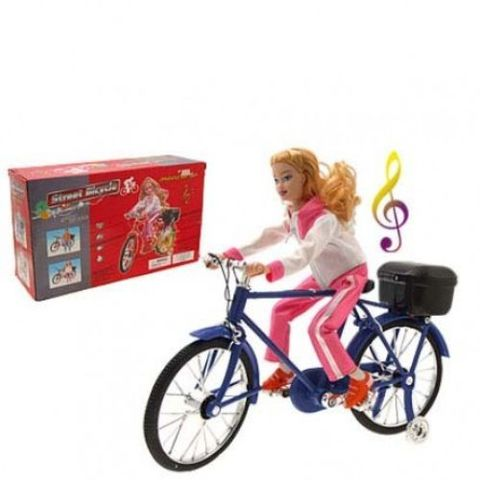 Electric Music Walking Miniature Bicycle Lady