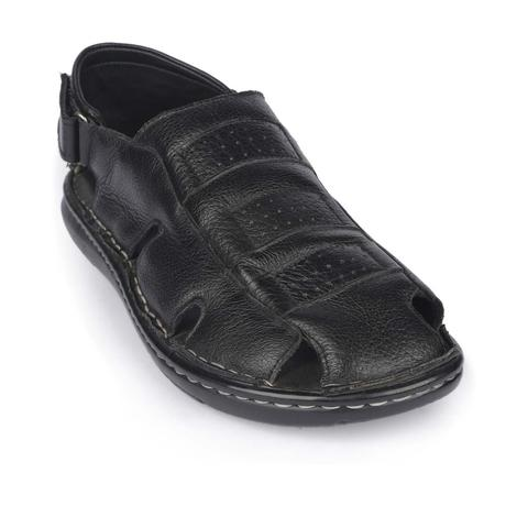 Black Leather Sandal for Men-9243101