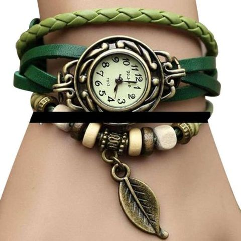 Woman Bracelet Hand Ring Wrist Watch - Multi color