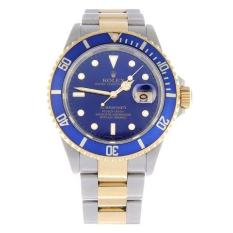 Blue Dial Stainless Steel Watch For Men