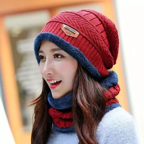Winter Hat And Neck Warmer Multi color