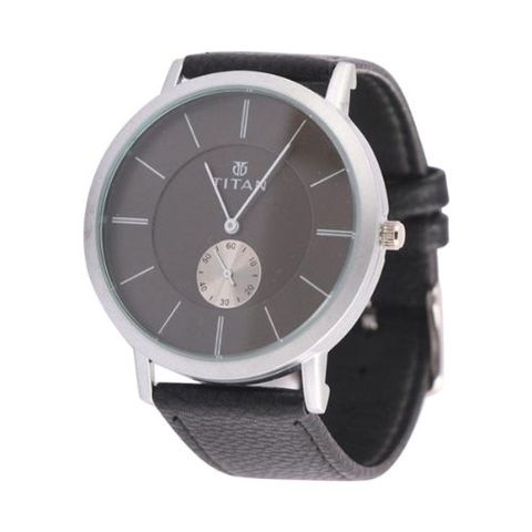 Black Leather Wrist Watch for Men