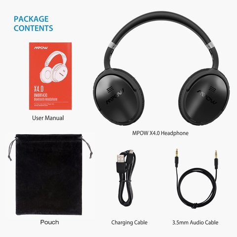 MPOW X4.0/H5 J Bluetooth Wireless Noise-Cancelling Bluetooth 4.1 IPX5 Water-Resistant  Headphone with 2 Years Official Warranty