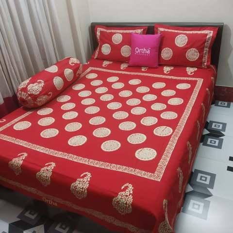 Hand Block Ortha Bedsheet - 4Pecs - Red