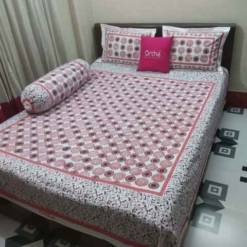 Hand Block Ortha Bedsheet - Boishakh