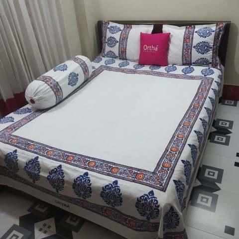 Hand Block Ortha Bedsheet - 4Pecs - White