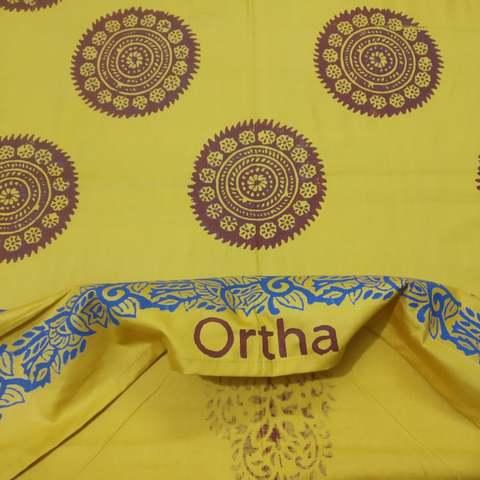 Hand Block Ortha Bedsheet - 4Pecs - Yellow