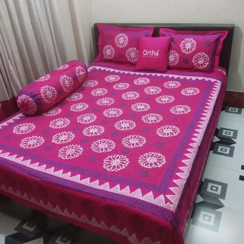 Hand Block Ortha Bedsheet - 4Pecs - Megenta