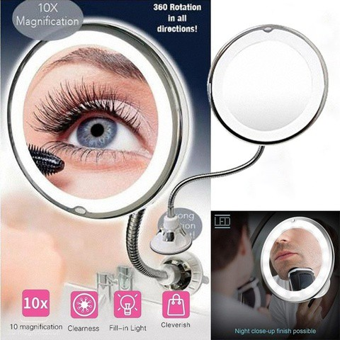 Flexible Mirror 10X Folding Mirror 360-Degree Rotating Makeup Mirror