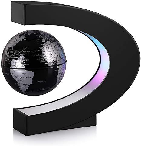 Magnetic Levitation Floating World Map for Desk Decoration-Black Silve