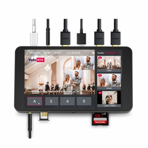 Yolo Box Broadcast live streaming with 7 inch touch screen can share to Youtube Facebook with free Moza mini Stabilizer