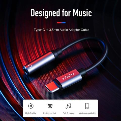 ROCK RCB0666 Type-C To 3.5mm Headphone Jack Portable USB-C Converter Cable