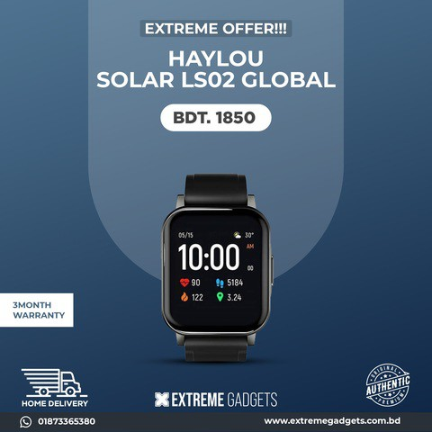 Haylou Solar LS02 Smart Watch With 3 months official Warranty