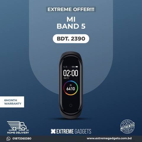 Mi Band 5 Amoled Screen Smart Fitness Tracker Band with 3 Months Official Warranty