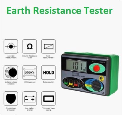 DY4100 Megger Meter Resistance Tester Digital Megohmmeter Earth Resistance Tester Ground 0-2000 Ohm Insulation Tester