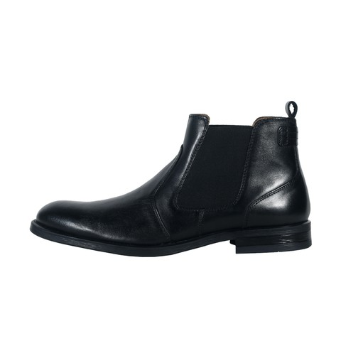 Black Leather Boot for Men-009907