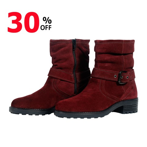 Maroon Leather Boot for Women-219W1013-2