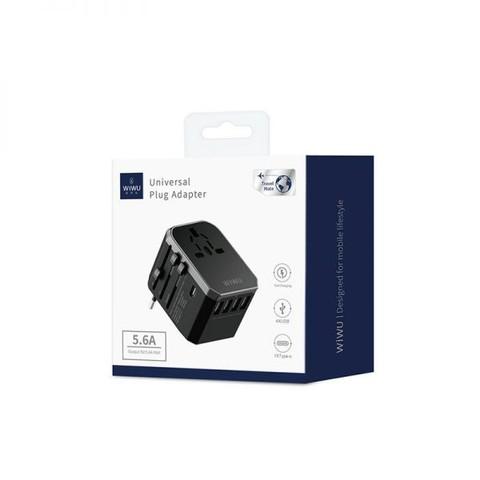 WIWU UA-301 Universal Travel Adapter with 4 USB Port + Type-CWIWU UA-301 Universal Travel Adapter with 4 USB Port + Type-C