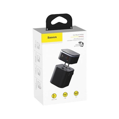 Baseus travel adapter (TZPPS - 01) PPS 2-in-1 Global Conversion Socket 18W Fast Charge Kit ( Type-C + USB Dual Port ) - Black
