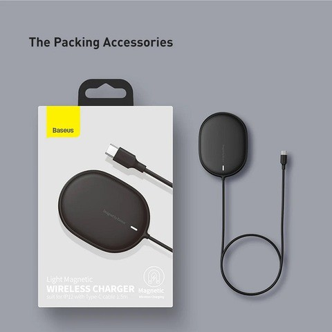 Baseus Light Magnetic Wireless Charger Suit For IP 12 with Type-C Cable- 1.5m (BS-W518)