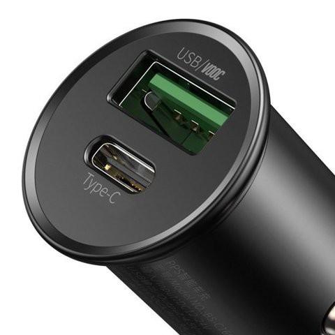 Baseus Car Charger Circular Metal PPS USB + Type-C 30W Support VOOC Black MOQ:20 (CCYS-C01)