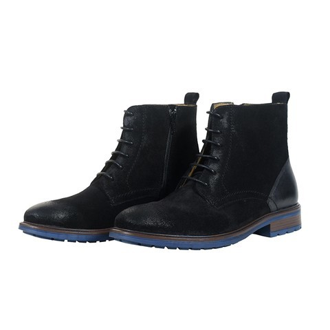 Black Leather Boot for Men-081805-1